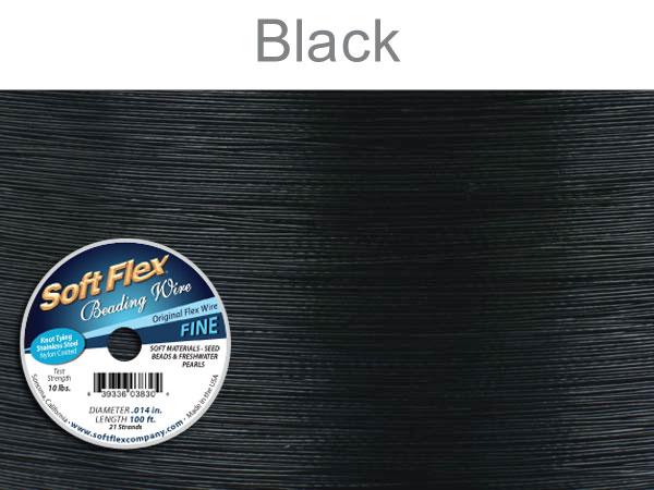 SOFT FLEX WIRE - BLACK, .014, 100FT