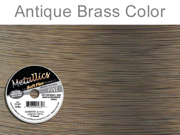 SOFT FLEX WIRE METALLIC - ANTIQUE BRASS, .014, 100FT