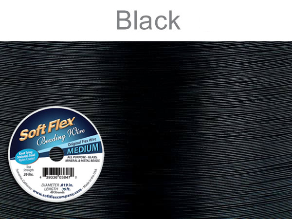 SOFT FLEX WIRE - BLACK, .019 DIA, 30FT