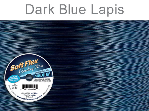 SOFT FLEX WIRE - DARK BLUE, .019 DIA, 100FT