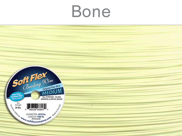 SOFT FLEX WIRE - BONE, .019, 100FT