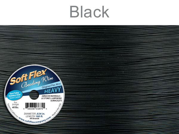 SOFT FLEX WIRE - BLACK, .024, 100FT