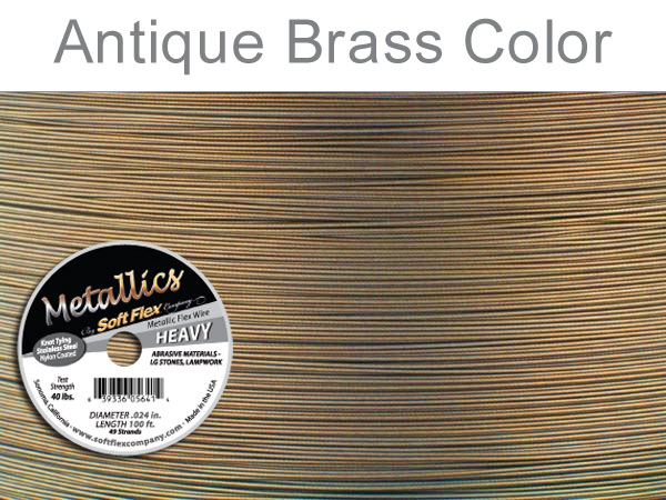 SOFT FLEX WIRE METALLIC - ANTIQUE BRASS, .024, 100FT