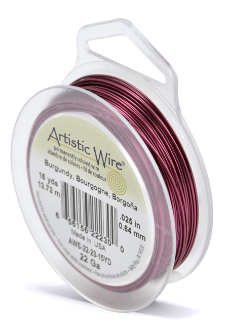 ARTISTIC WIRE SPOOL - 22 GAUGE - BURGUNDY