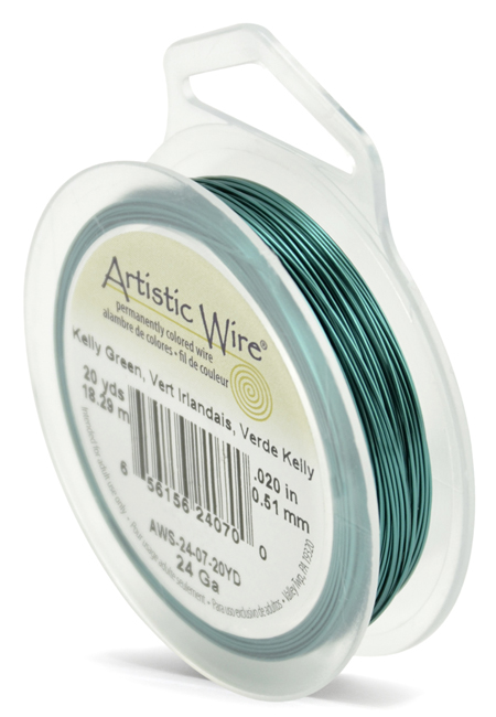 ARTISTIC WIRE SPOOL - 24 GAUGE - KELLY GREEN