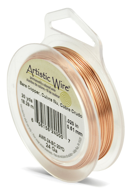 ARTISTIC WIRE SPOOL - 24 GAUGE - BARE COPPER