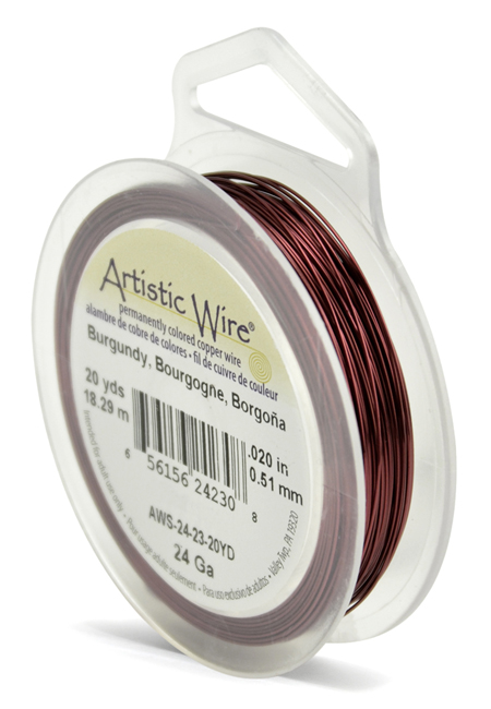 ARTISTIC WIRE SPOOL - 24 GAUGE - BURGUNDY