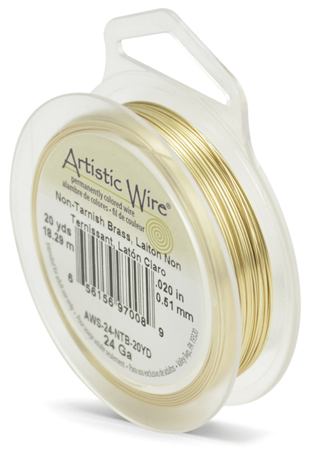 ARTISTIC WIRE SPOOL - 24 GAUGE - NON-TARNISH BRASS