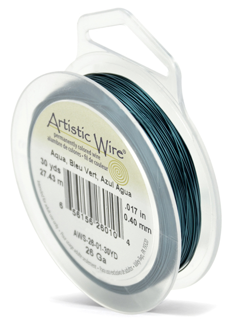 ARTISTIC WIRE SPOOL - 26 GAUGE - AQUA