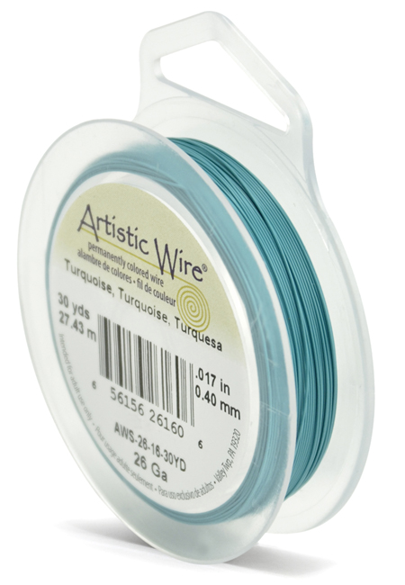 ARTISTIC WIRE SPOOL - 26 GAUGE - TURQUOISE