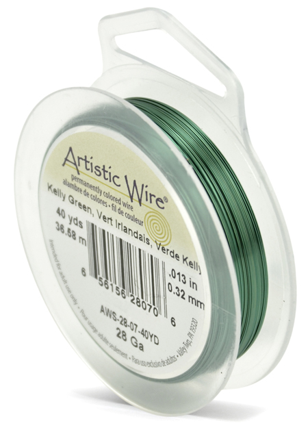 ARTISTIC WIRE SPOOL - 28 GAUGE - KELLY GREEN