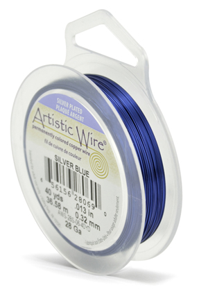ARTISTIC SILVER WIRE - BLUE - 28GA, 40YDS