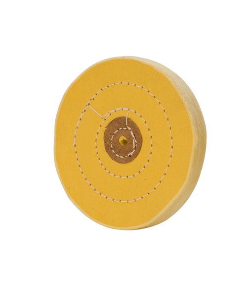 MUSLIN BUFF - YELLOW, STITCHED, LEATHER CENTER (5 X 50)