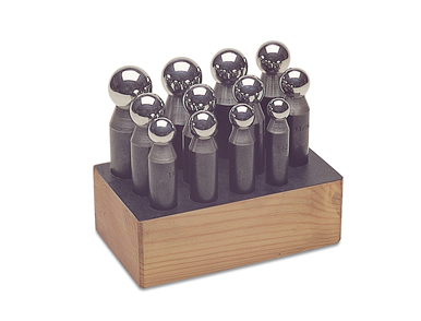 DAPPING PUNCH SET IN WOOD STAND - 12PC