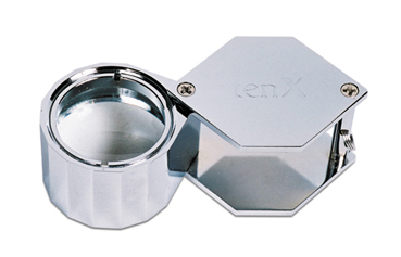 LARGE 10X SILVER HEX LOUPE 21.5MM