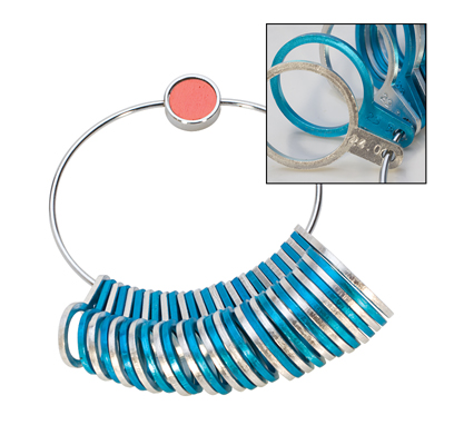 ALUMINUM RING SIZER - SILVER/BLUE