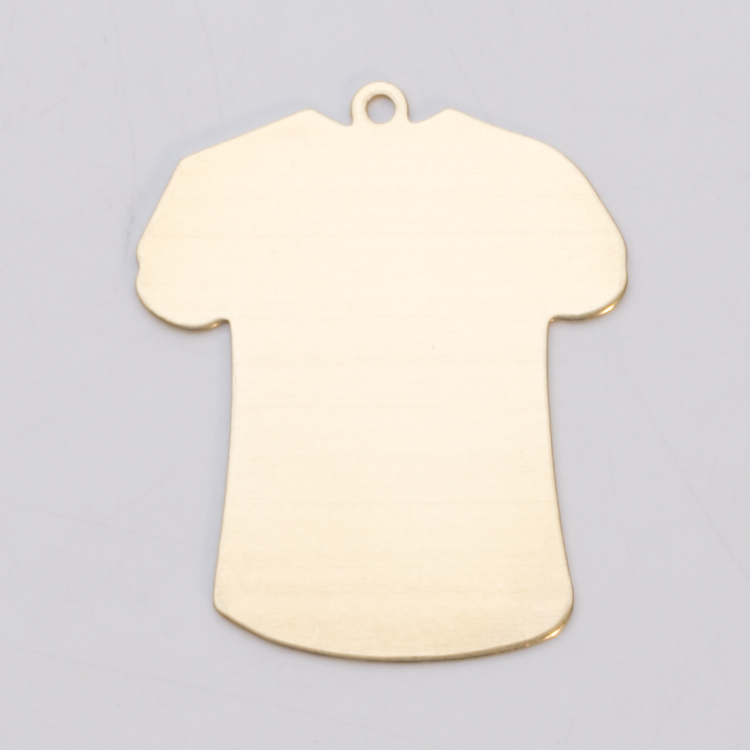 BRASS LARGE T-SHIRT W/RING, 24 GA - PK/6