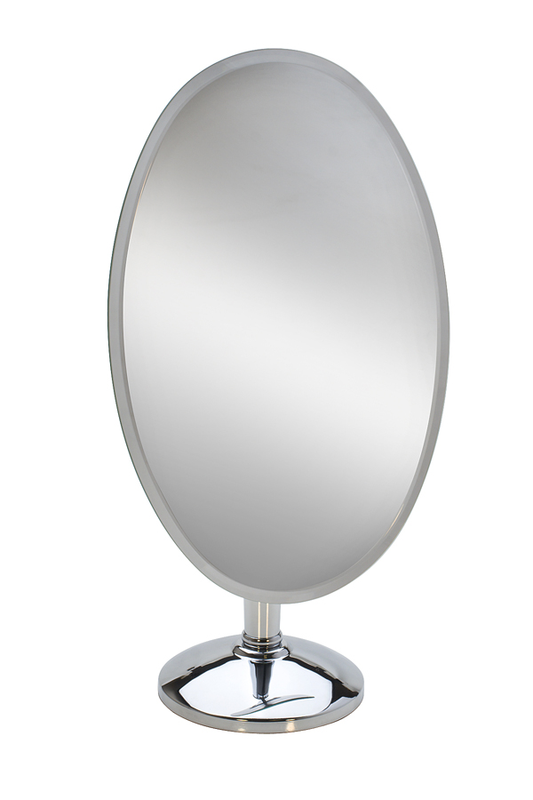CHROME PEDESTAL MIRROR-OVAL-RIMLESS-18
