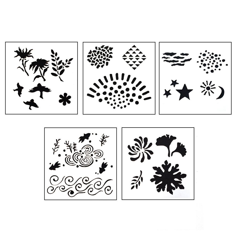 DESIGN STENCILS FOR ENAMELING - ECHOES, 5PC