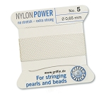 GRIFFIN NYLON BEAD CORD - WHITE, #5