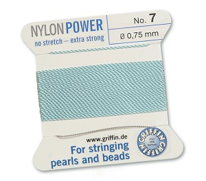GRIFFIN NYLON BEAD CORD - TURQUOISE, #7