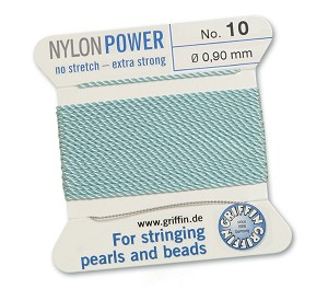GRIFFIN NYLON BEAD CORD - TURQUOISE, #10