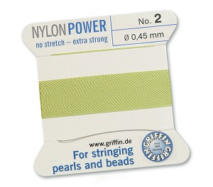 GRIFFIN NYLON BEAD CORD - JADE GREEN, #2