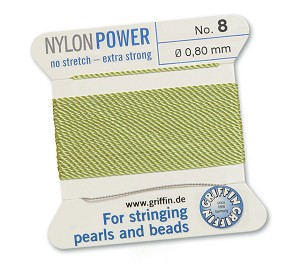 GRIFFIN NYLON BEAD CORD - JADE GREEN, #8