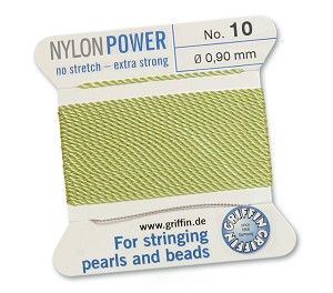 GRIFFIN NYLON BEAD CORD - JADE GREEN, #10