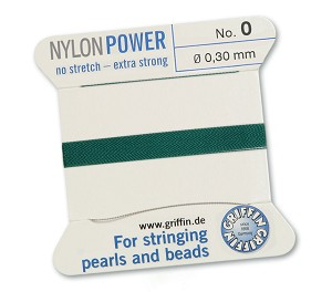 GRIFFIN NYLON BEAD CORD - GREEN, #0