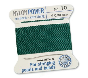GRIFFIN NYLON BEAD CORD - GREEN, #10