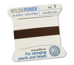 GRIFFIN NYLON BEAD CORD - BROWN, #1
