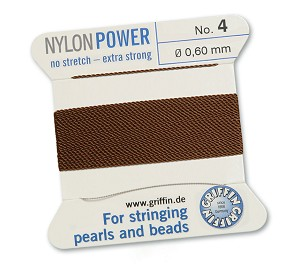 GRIFFIN NYLON BEAD CORD - BROWN, #4