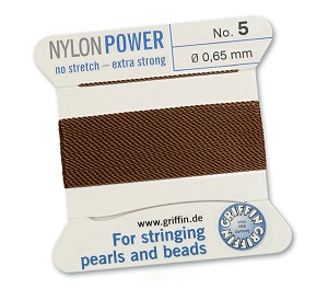 GRIFFIN NYLON BEAD CORD - BROWN, #5
