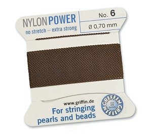 GRIFFIN NYLON BEAD CORD - BROWN, #6