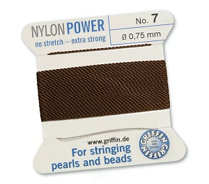 GRIFFIN NYLON BEAD CORD - BROWN, #7