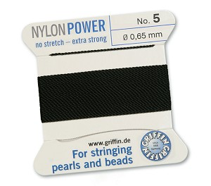 GRIFFIN NYLON BEAD CORD - BLACK, #5