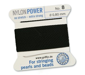 GRIFFIN NYLON BEAD CORD - BLACK, #8