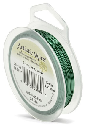 ARTISTIC WIRE SPOOL - 24 GAUGE - GREEN