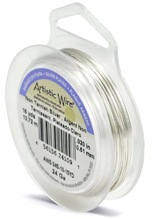ARTISTIC SILVER NON-TARNISH WIRE - 24GA, 15YDS