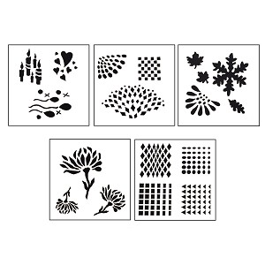 DESIGN STENCILS FOR ENAMELING - REFLECTIONS, 5PC