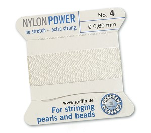 GRIFFIN NYLON BEAD CORD - WHITE,  #4