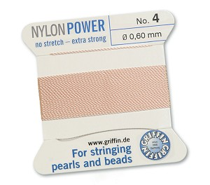 GRIFFIN NYLON BEAD CORD - LIGHT PINK, #4
