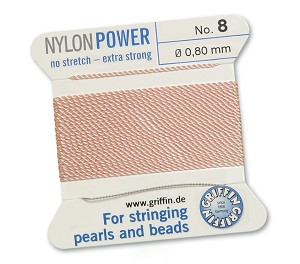 GRIFFIN NYLON BEAD CORD - LIGHT PINK, #8