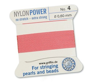 GRIFFIN NYLON BEAD CORD - DARK PINK, #4
