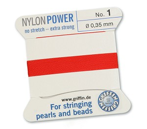 GRIFFIN NYLON BEAD CORD - RED, #1