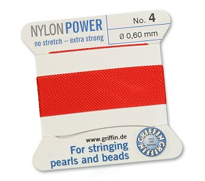GRIFFIN NYLON BEAD CORD - RED, #4