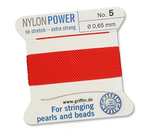 GRIFFIN NYLON BEAD CORD - RED, #5