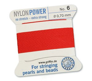 GRIFFIN NYLON BEAD CORD - RED, #6