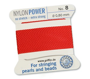 GRIFFIN NYLON BEAD CORD - RED, #8